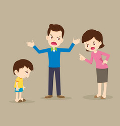 angry family quarreling with sad child vector image