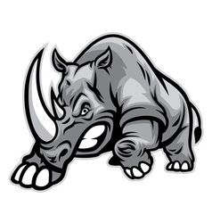 Angry rhino ready to ram vector image