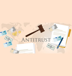 Antitrust law monopoly competition hammer paper vector