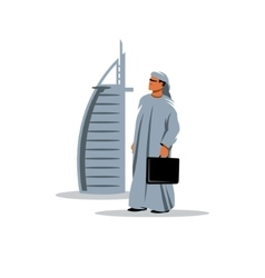 Arabic businessman with a briefcase in hand vector