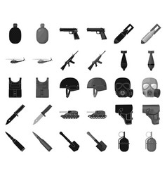 Army and armament blackmonochrome icons in set vector