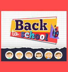 back to school children and supplies for lessons vector image