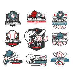 baseball tournament isolated icons sporting items vector image