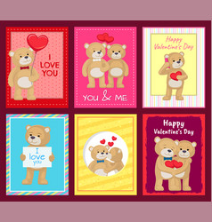 bears on festive postcards for valentines day vector image