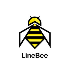 bee logo design template linear geometric style vector image
