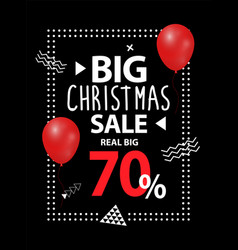 big christmas sale up to 70 percent off brochure vector image