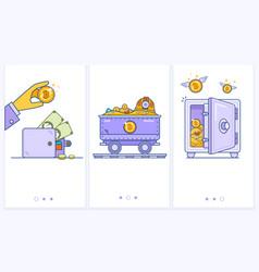 bitcoin wallet logo with bank card trolley vector image