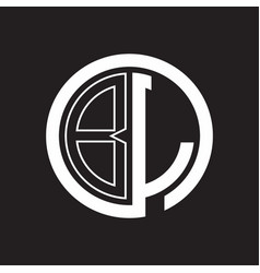 bl logo with circle rounded negative space design vector image