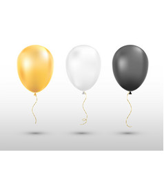 black white and golden balloons isolated vector image