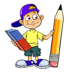 Boy with a pencil and an eraser vector