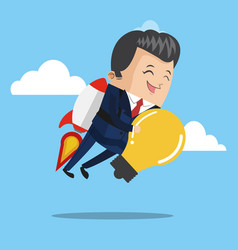Businessman flying jetpack with bulb vector