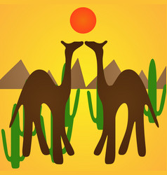 Camel silhouette background vector