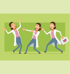 Cartoon flat funny doctor woman character set vector