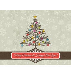 christmas background with snowflakes and christmas vector image