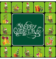 Christmas elements with text vector image