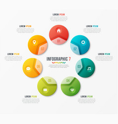 Circle chart template with 7 options vector