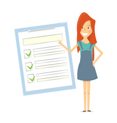 claim form woman shows a document checklist vector image