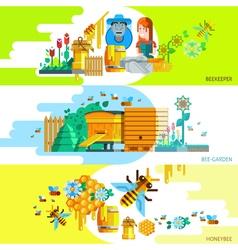 Colorful Beekeping Horizontal Banners vector image