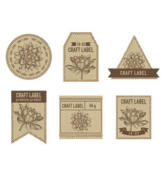 craft labels with lotus vector image