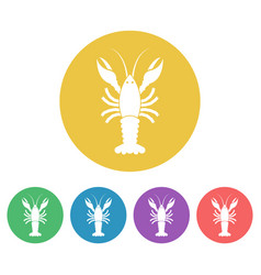 crayfish colored round icons vector image