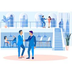 Creative coworking office cartoon flat banner vector
