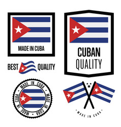 Cuba quality label set for goods vector