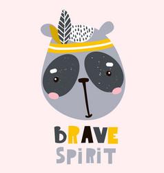 cute cartoon panda face childish print vector image