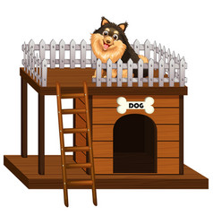 Dog and doghouse made of wood vector