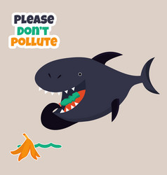 Eco poster stop pollution with cartoon shark vector