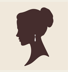 Elegant lady face silhouette vector
