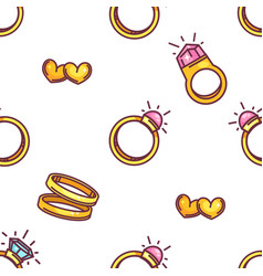 engagement and wedding rings old hearts seamless vector image