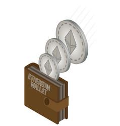Ethereum wallet brown vector