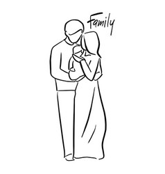father and mother holding their baby vector image