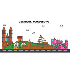 germany magdeburg city skyline architecture vector image