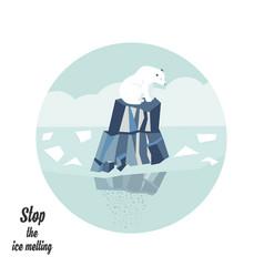 Global warming concept poster with polar bear vector