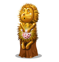 golden statuette in the form of a hedgehog with a vector image