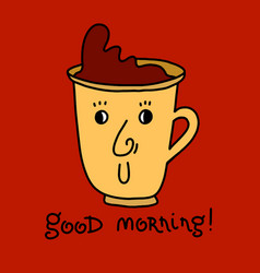 good morning lettering card background with cup vector image