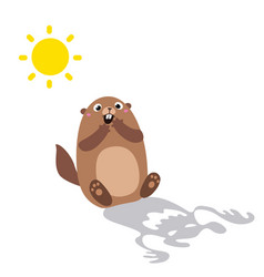 groundhog saw his shadow and scared flat vector image