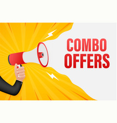 Hand holding megaphone with combo offers vector