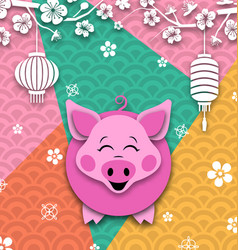 happy chinese new year card with cartoon pig vector image