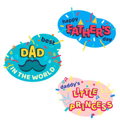 Happy fathers day bright cartoon isolated stickers vector