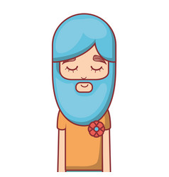 hippie with meditation with long beard vector image