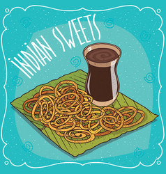 Indian deep frying sweets jalebi or zulbia vector