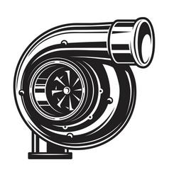 Isolated monochrome car turbo vector