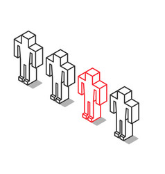 isometric outline unique man vector image