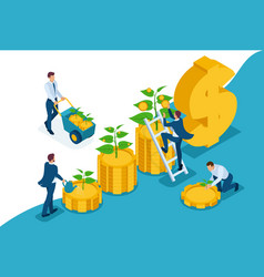 Isometric save increase investment income growth vector