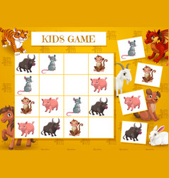 Kid new year crossword with chinese zodiac animals vector
