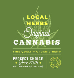 Local herbs cannabis abstract design label vector