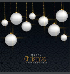luxury christmas greeting with hanging balls vector image