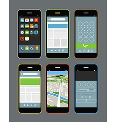 Modern smartphones with different application scre vector image